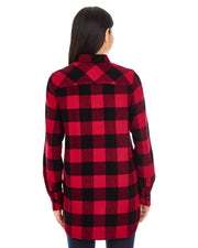 B5210 - Ladies Plaid Flannel Shirts - Red/Black