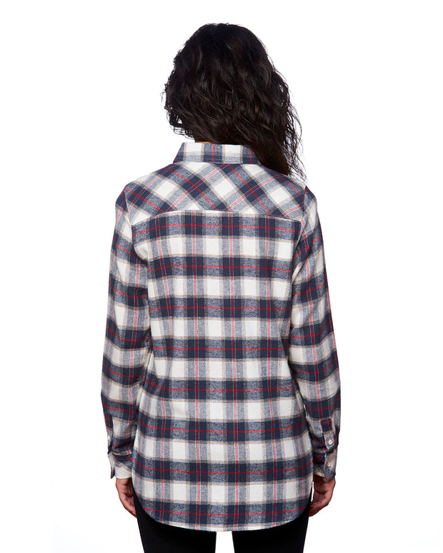 B5210 - Ladies Plaid Flannel Shirts - White/Red