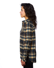 B5210 - Ladies Plaid Flannel Shirts - Khaki
