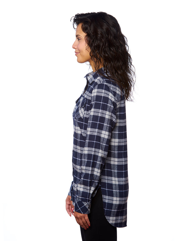 B5210 - Ladies Plaid Flannel Shirts - Navy/Grey