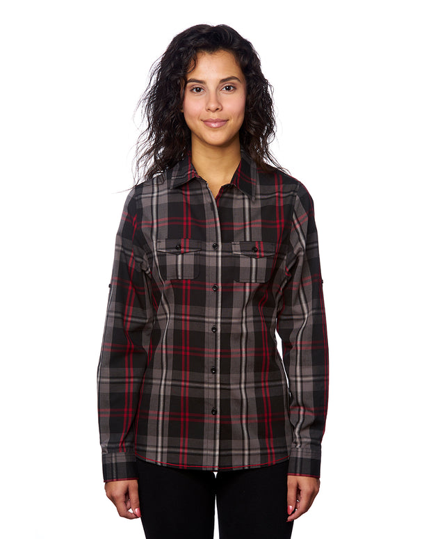 B5222 Ladies Long Sleeve Plaid Wovens - Red/Black