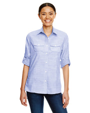 B5247 - Ladies Short Sleeve Texture Woven - Blue