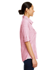 B5247 - Ladies Short Sleeve Texture Woven - Red