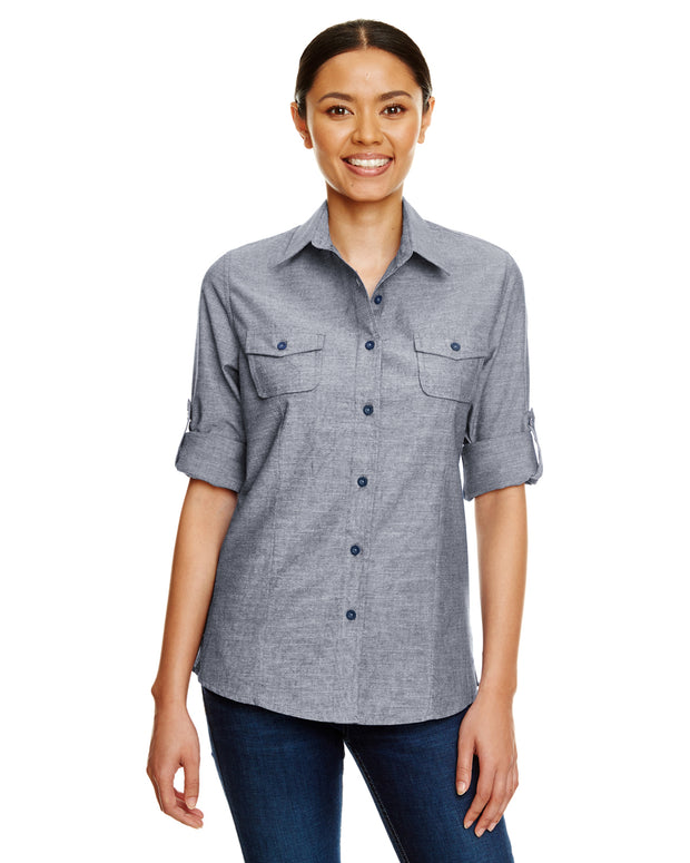 B5255 - Ladies Long Sleeve Chambray Shirts - Dark Denim