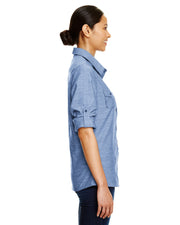 B5255 - Ladies Long Sleeve Chambray Shirts - Light Denim