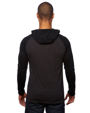 B8127 - Mens Raglan Jersey Hoodies - Striated Black/Black