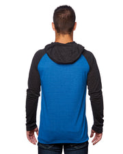 B8127 - Mens Raglan Jersey Hoodies - Striated Royal/Striated Black