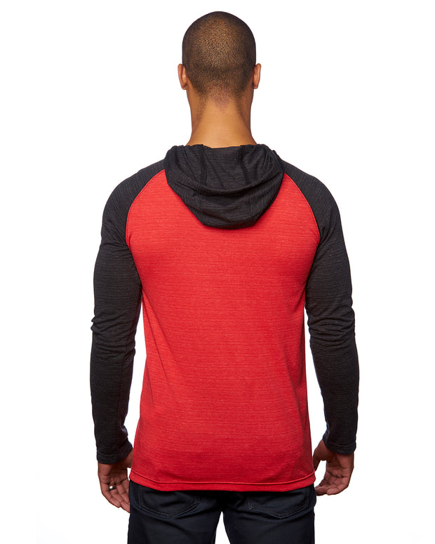B8127 - Mens Raglan Jersey Hoodies - Striated Red/Striated Black