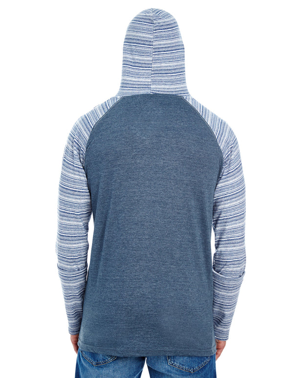 B8127 - Mens Raglan Jersey Hoodies - Heather Navy