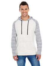 B8127 - Mens Raglan Jersey Hoodies - Heather Ecru