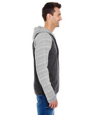 B8127 - Mens Raglan Jersey Hoodies - Heather Charcoal