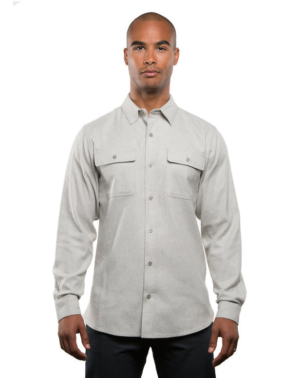B8200 - Mens Solid Long Sleeve Flannel Shirts - Stone