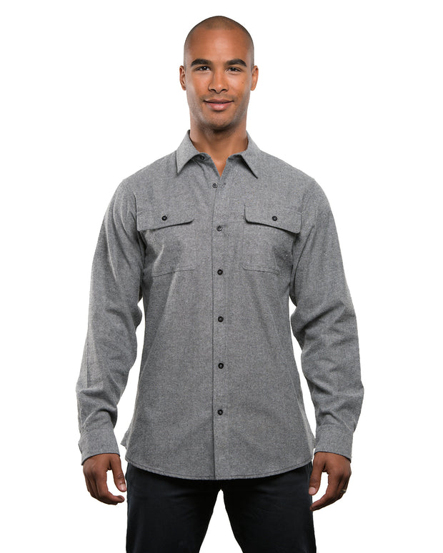B8200 - Mens Solid Long Sleeve Flannel Shirts - Heather Grey