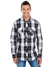 B8202 - Mens Long Sleeve Plaid Wovens - White/Black