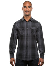 B8206 - Men's Long Sleeve Western Plaids - Black