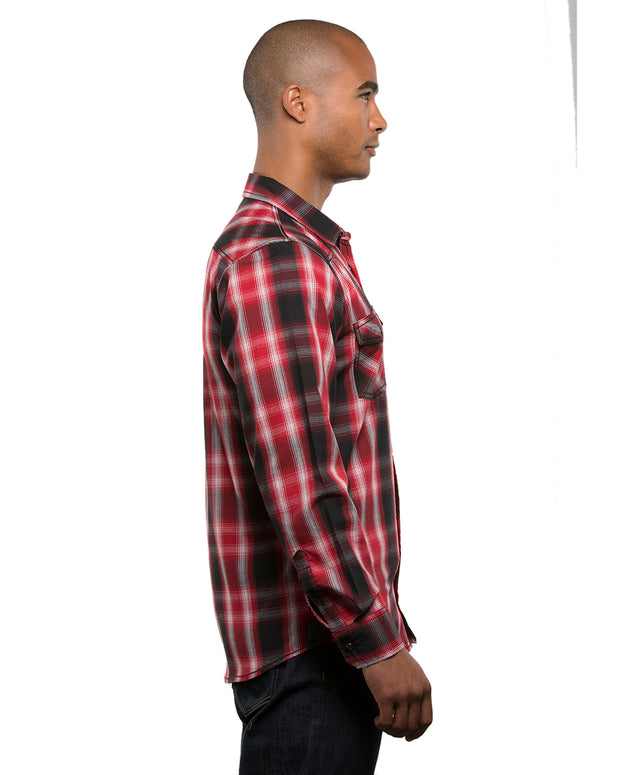 B8206 - Men's Long Sleeve Western Plaids - Red