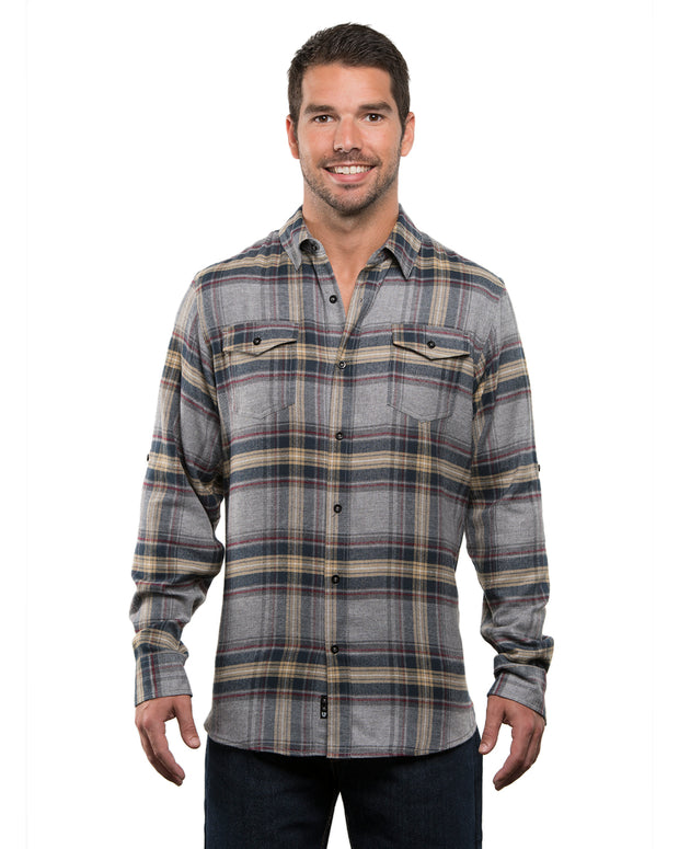 B8210 - Mens Plaid Flannel Shirts - Light Grey