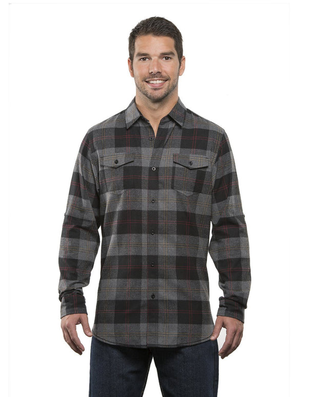 B8210 - Mens Plaid Flannel Shirts - Black/Steel