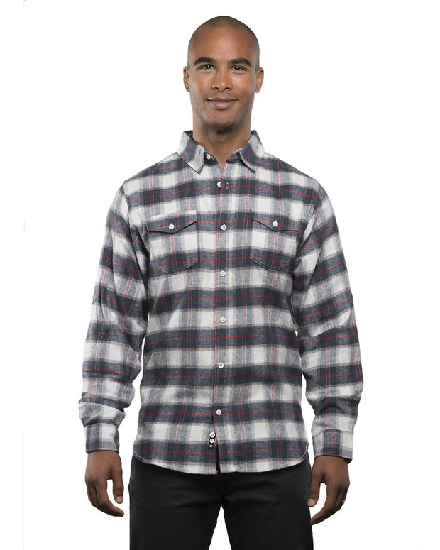 B8210 - Mens Plaid Flannel Shirts - White/Red