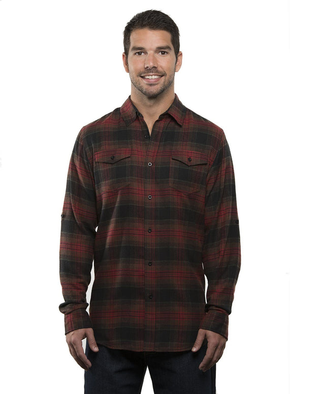B8210 - Mens Plaid Flannel Shirts - Crimson