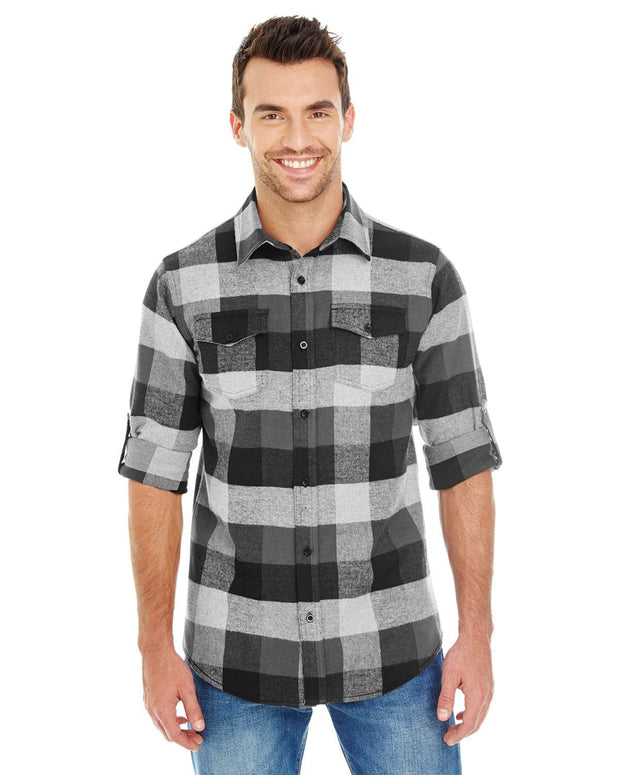 B8210 - Mens Plaid Flannel Shirts - Black/Grey