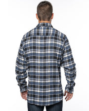 B8210 - Mens Plaid Flannel Shirts - Blue