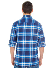 B8210 - Mens Plaid Flannel Shirts - Blue/White