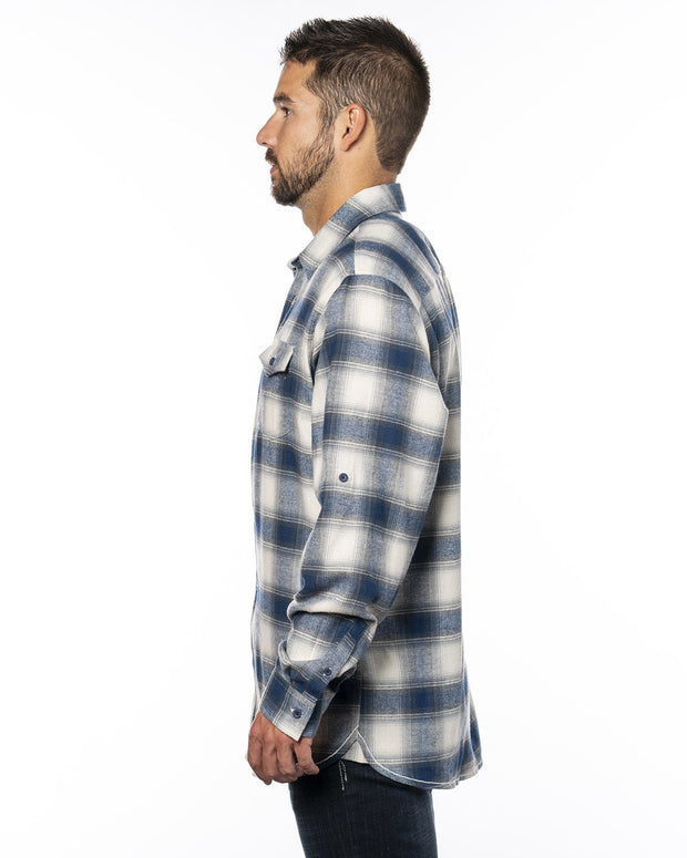 B8210 - Mens Plaid Flannel Shirts - Ecru/Blue