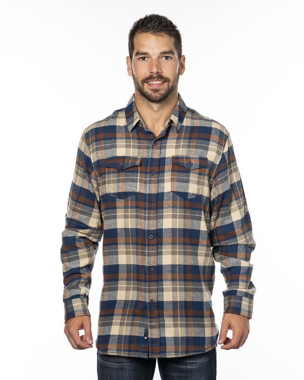B8210 - Mens Plaid Flannel Shirts - Brown
