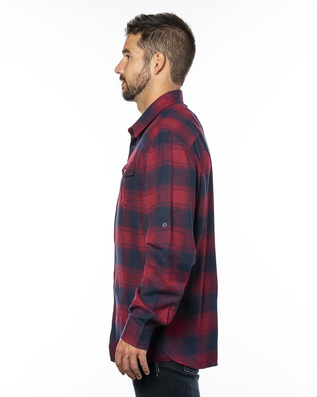 B8210 - Mens Plaid Flannel Shirts - Crimson/Navy