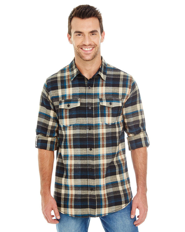 B8210 - Mens Plaid Flannel Shirts - Khaki