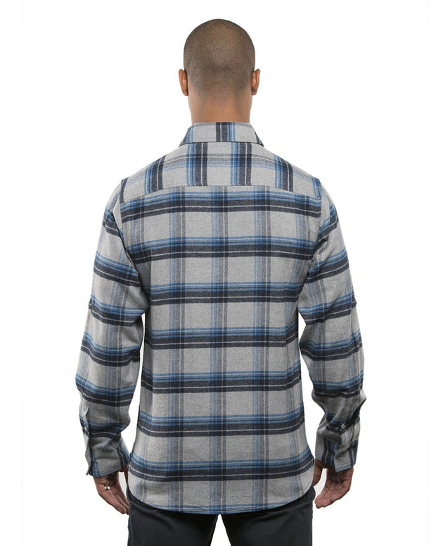 B8210 - Mens Plaid Flannel Shirts - Grey/Blue