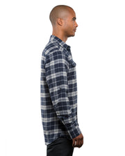 B8210 - Mens Plaid Flannel Shirts - Navy/Grey