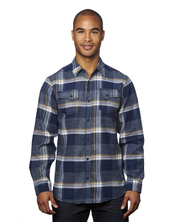 B8219 - Mens Snap Flannel Shirts - Indigo