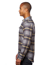 B8219 - Mens Snap Flannel Shirts - Light Grey