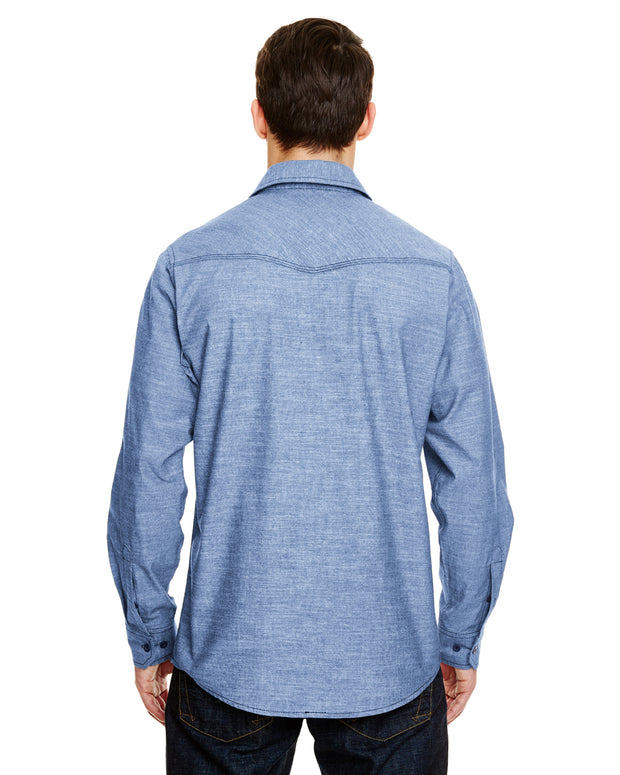 B8255 - Mens Long Sleeve Chambray Shirts - Light Denim
