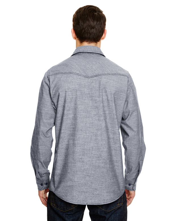 B8255 - Mens Long Sleeve Chambray Shirts - Dark Denim