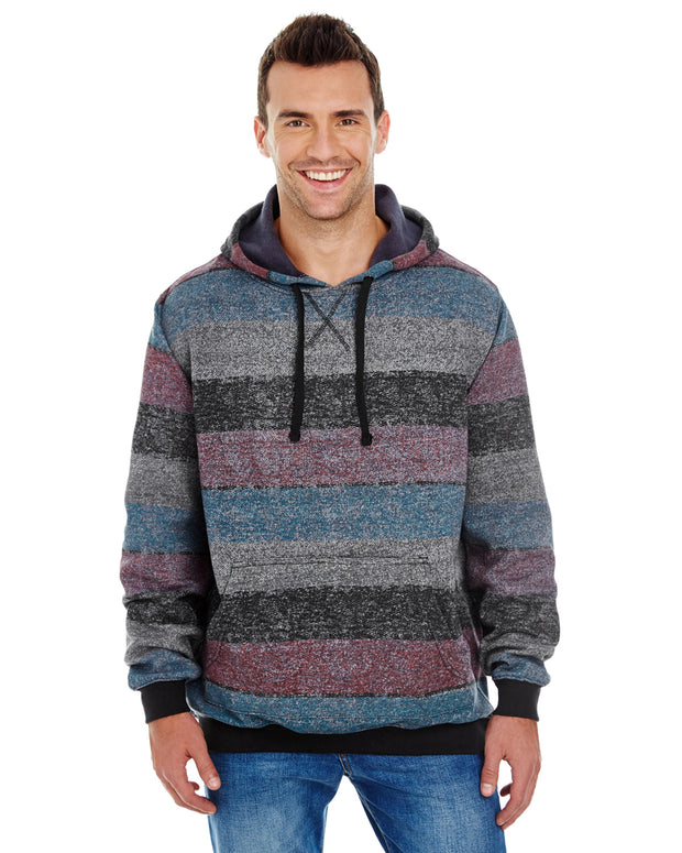 B8603 - Mens Striped Pullover Hoodies - Red/Black