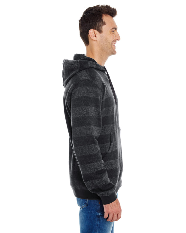B8603 - Mens Striped Pullover Hoodies - Black/Charcoal