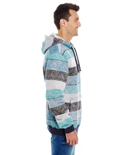 B8603 - Mens Striped Pullover Hoodies - Blue/Black