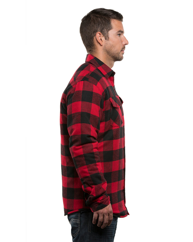 B8610 - Mens Quilted Flannel Jackets - Red/Black