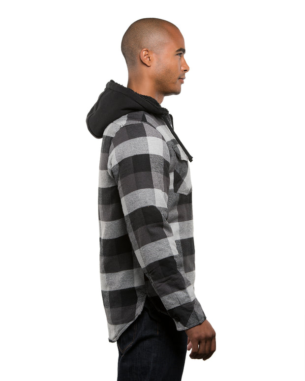B8620 - Mens Hooded Flannel Jackets - Black/Grey
