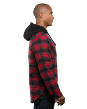 B8620 - Mens Hooded Flannel Jackets - Red/Navy