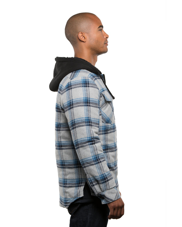 B8620 - Mens Hooded Flannel Jackets - Blue/Grey