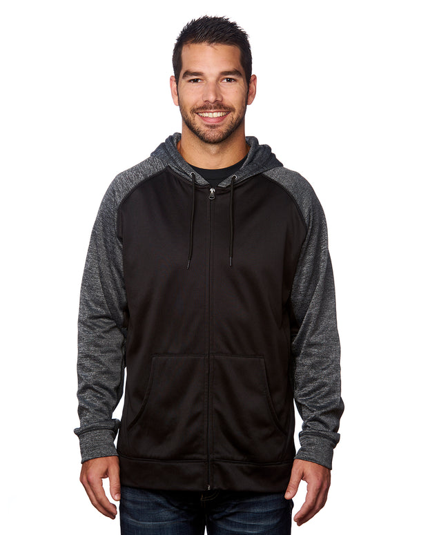 B8660 - Mens Performance Hoodies - Black/Heather Charcoal