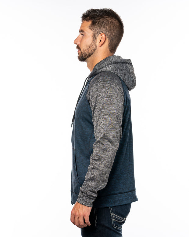 B8660 - Mens Performance Hoodies - Heather Navy/Heather Charcoal