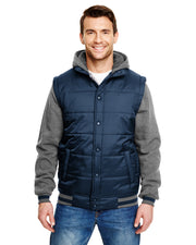 B8701 - Mens Sleeved Puffer Vests - Navy/Charcoal
