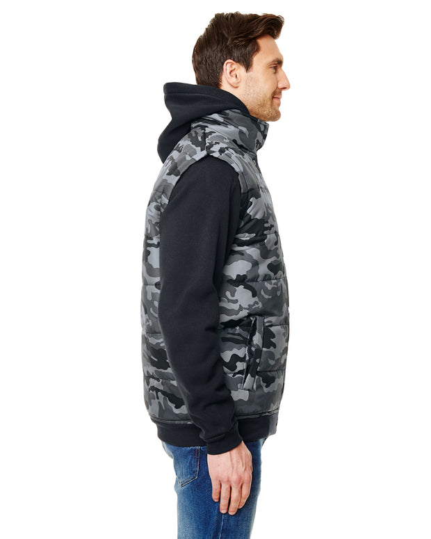 B8701 - Mens Sleeved Puffer Vests - Black Camo/Black