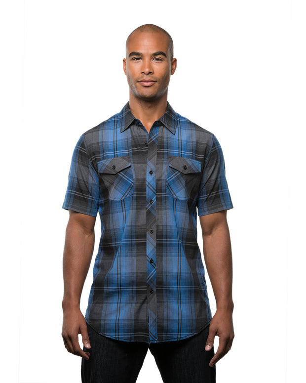 B9202 - Mens Short Sleeve Plaid Wovens - Blue/Black