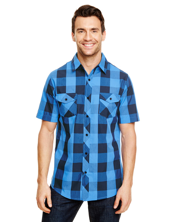 B9203 - Mens Buffalo Plaid Shirts - Black/Blue